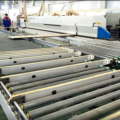Edge banding machine turning line for short end